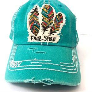 Free Spirit feather vintage style baseball hat